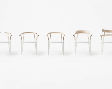 Nendo's Twig chair features interchangeable wooden tops